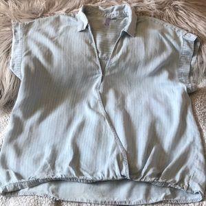 Cross over light blue denim shirt